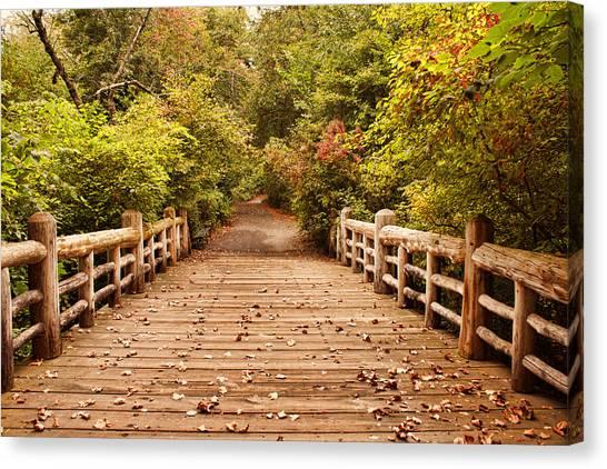 A Bridge Into Autumn Canvas Print by Zev Steinhardt