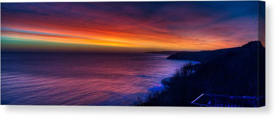 A Bright Colored Sunrise Panoramic At Scarborough Uk Canvas Print