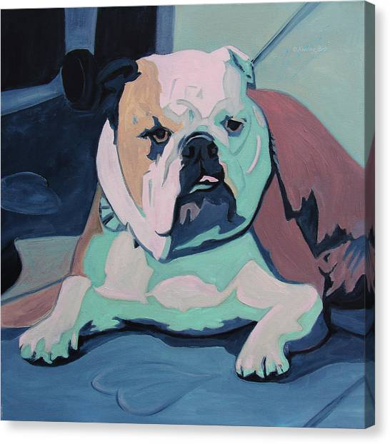English Bull Dogs Canvas Print - A Bulldog In Love by Xueling Zou