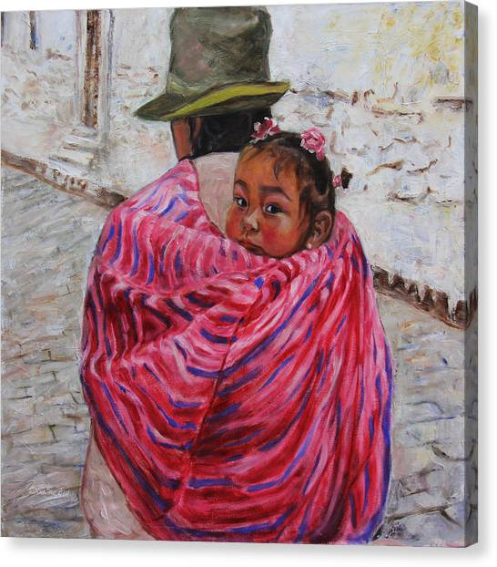 Peruvian Canvas Print - A Bundle Buggy Swaddle - Peru Impression IIi by Xueling Zou