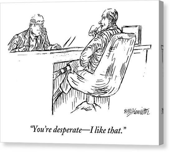 A Businessman Interviewing Another Canvas Print