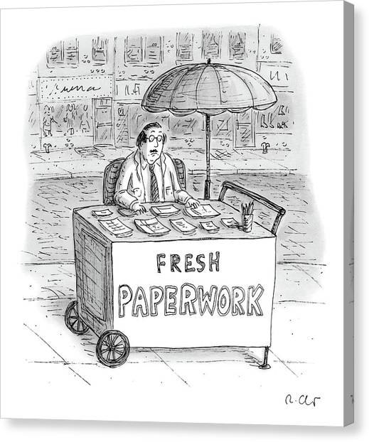 Hot Dogs Canvas Print - A Businessman Sits Behind A Food Cart/desk by Roz Chast