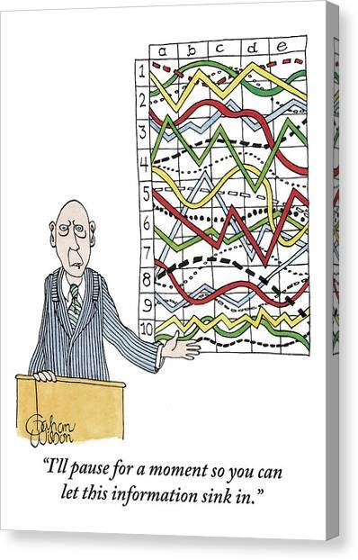 Gestures Canvas Print - A Businessman Stands Behind A Podium by Gahan Wilson