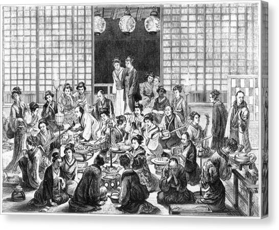 A Bustling Japanese Restaurant  Scene Canvas Print by Mary Evans Picture Library