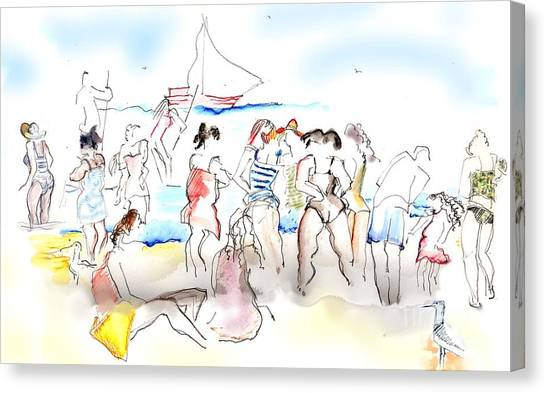 A Busy Day At The Beach Canvas Print