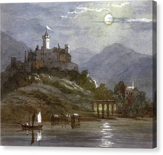A Castle Sits On The Top Of A  Hill Canvas Print by Mary Evans Picture Library