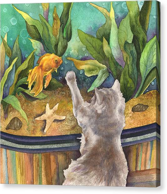 Goldfish Canvas Print - A Cat And A Fish Tank by Anne Gifford