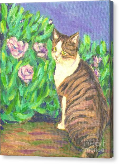 A Cat At A Garden Canvas Print
