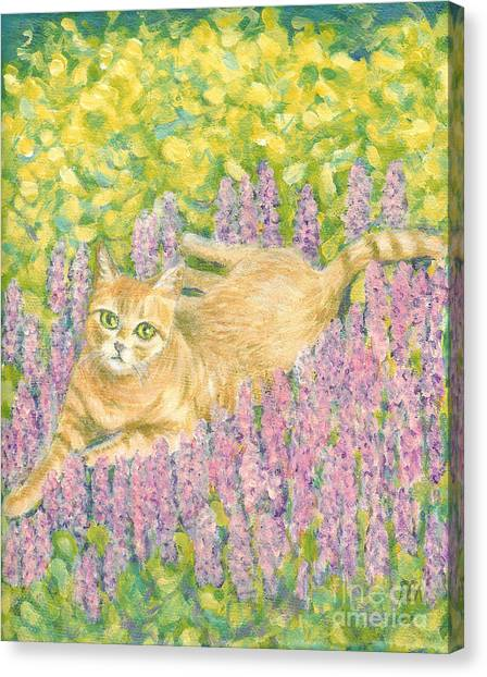 A Cat Lying On Floral Mat Canvas Print