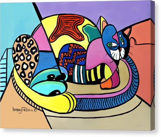 Canvas Print featuring the painting A Cat Named Picasso by Anthony Falbo