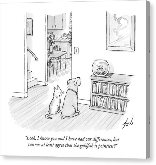 Goldfish Canvas Print - A Cat Speaks To A Dog by Tom Toro