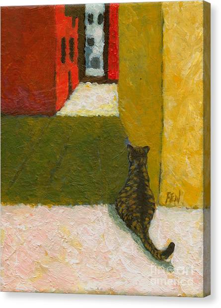 A Cat Waiting For Someone's Return Canvas Print