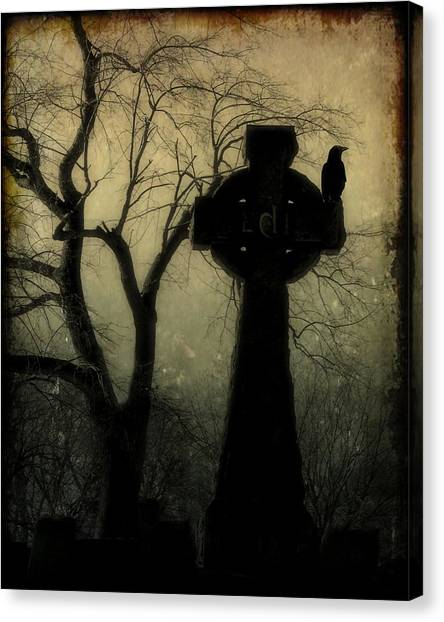 Ravens In Graveyard Canvas Print - A Celtic Crow by Gothicrow Images