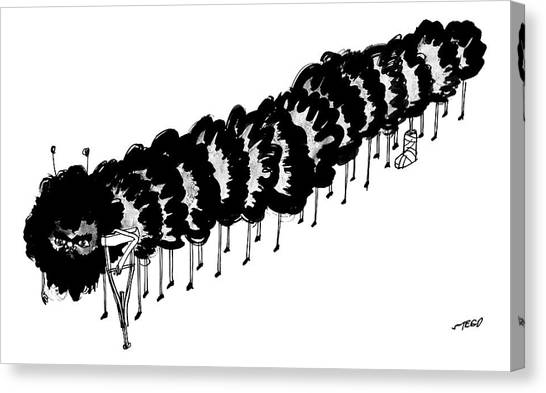 Centipedes Canvas Print - A Centipede With A Crutch And A Cast On Its 8th by Edward Steed