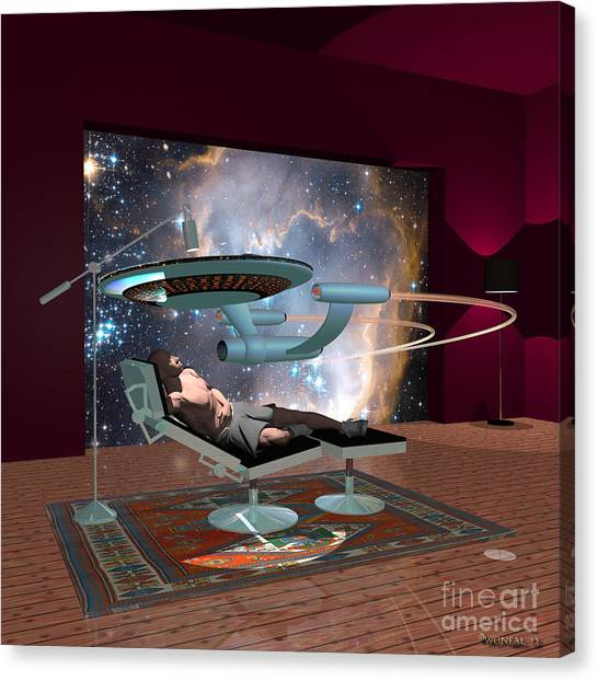 Starship Enterprise Canvas Print - A Cgi Artist Dreams by Walter Oliver Neal