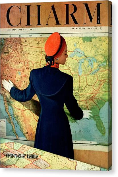 A Charm Cover Of A Model By An American Map Canvas Print by Hal Reiff