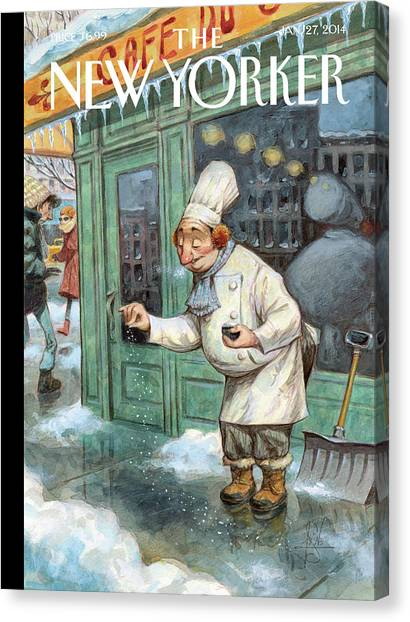 Cooking Canvas Print - A Chef Lightly Pinches Salt On The Sidewalk by Peter de Seve