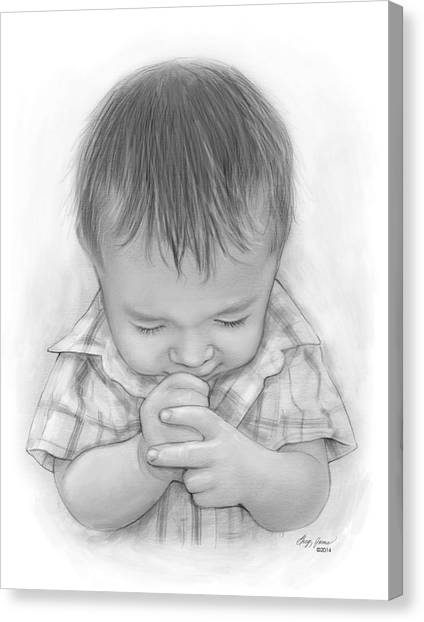 Religious Canvas Print - A Child's Payer by Greg Joens