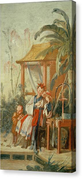 Jardin Canvas Print - A Chinese Garden, Study For A Tapestry Cartoon, C.1742 Oil On Canvas by Francois Boucher
