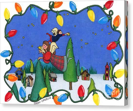 Christmas Lights Canvas Print - A Christmas Scene by Sarah Batalka