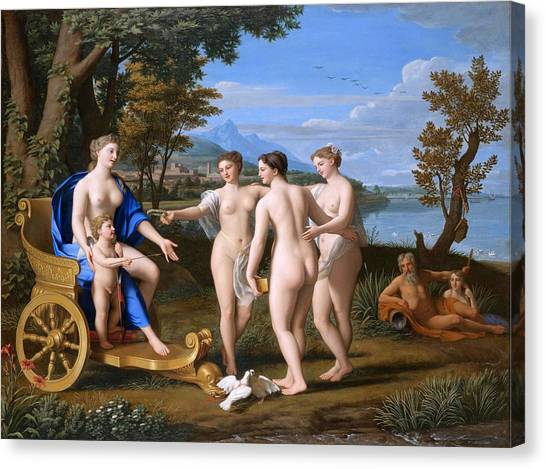 Erotic Framed Canvas Print - A Classical Landscape With Venus And Cupid Accompagnied By The Three Graces by Nicolas Colombel