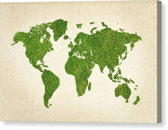 South Asia Canvas Print - World Grass Map by Aged Pixel