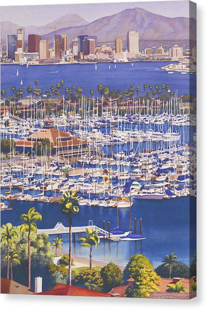 Dock Canvas Print - A Clear Day In San Diego by Mary Helmreich