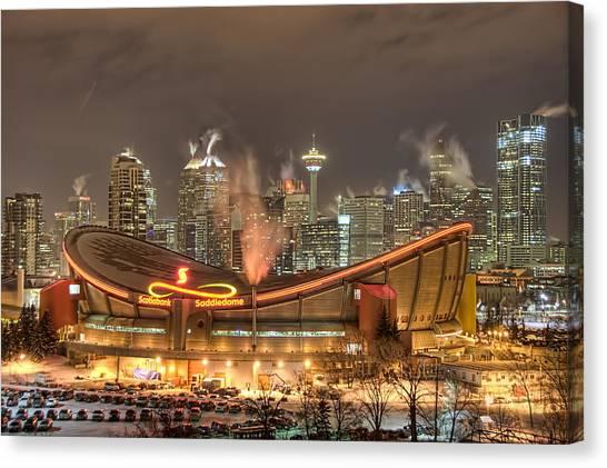 Calgary Flames Canvas Print - A Cold Winter Night by Yves Gagnon
