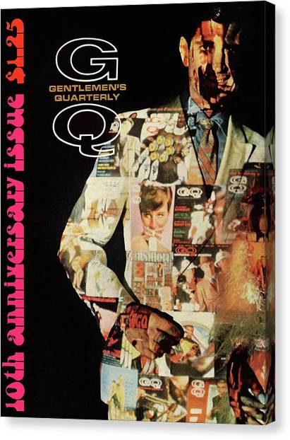 A Collage Of Gq Covers Canvas Print by Leonard Nones
