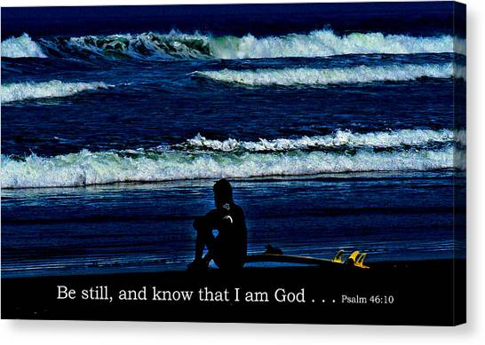 a contemplative surfer  - Psalm 46 - 10 Canvas Print