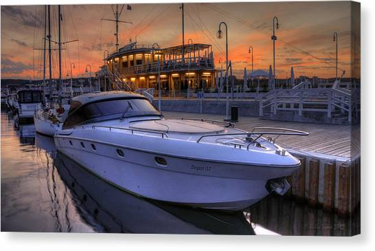 A Cool Motorboat Yacht In Sopot Marina Canvas Print