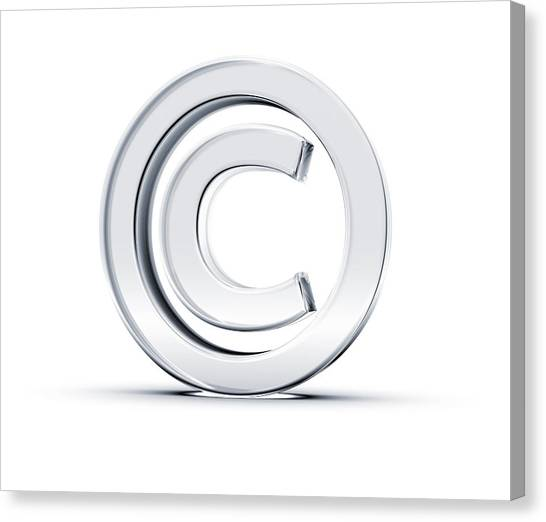 A Copyright Symbol In 3d On A White Background Canvas Print by Hometowncd
