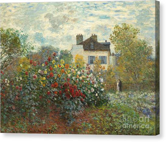 Bush Canvas Print - A Corner Of The Garden With Dahlias by Claude Monet