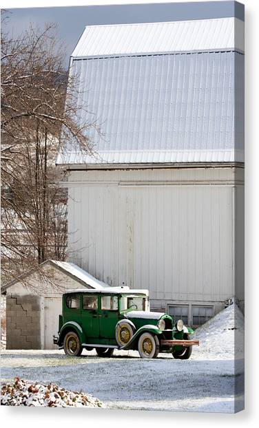 A Country Landscape With Classic Car Canvas Print