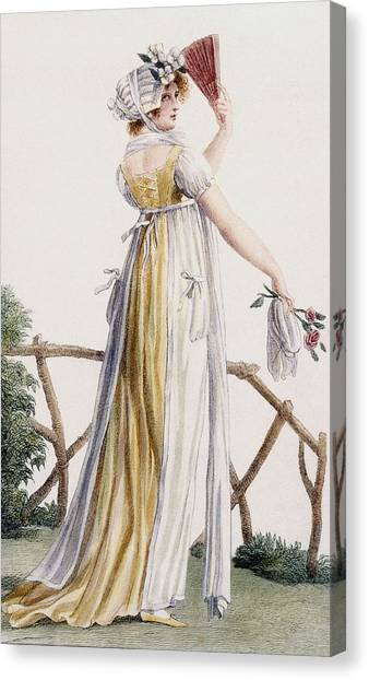 Fashion Plate Canvas Print - A Country Style Ladies Dress by Pierre de La Mesangere