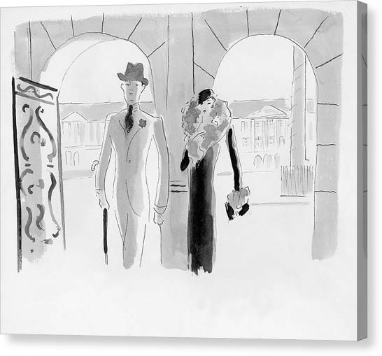A Couple At The Ritz Hotel Canvas Print