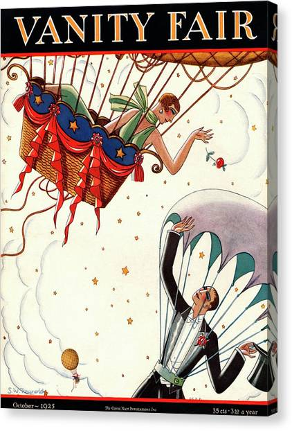 A Couple In Air Balloons Canvas Print by Stanley W. Reynolds