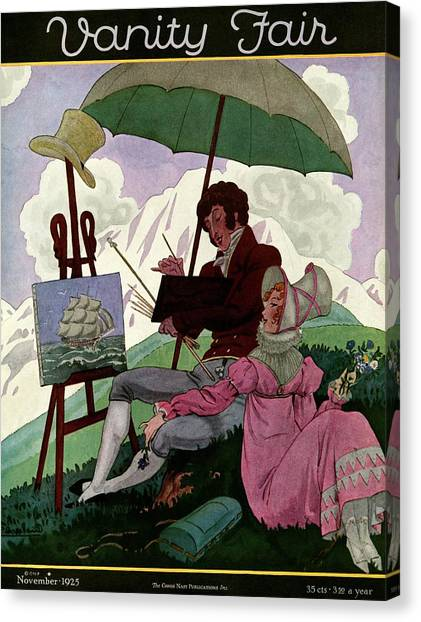 A Couple In Period Dress Canvas Print by Pierre Brissaud
