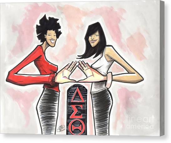 Delta Sigma Theta Canvas Print - A Couple Of Dst by Tu-Kwon Thomas
