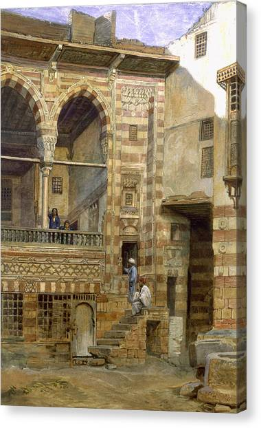 Tile Canvas Print - A Courtyard In Cairo by Frank Dillon