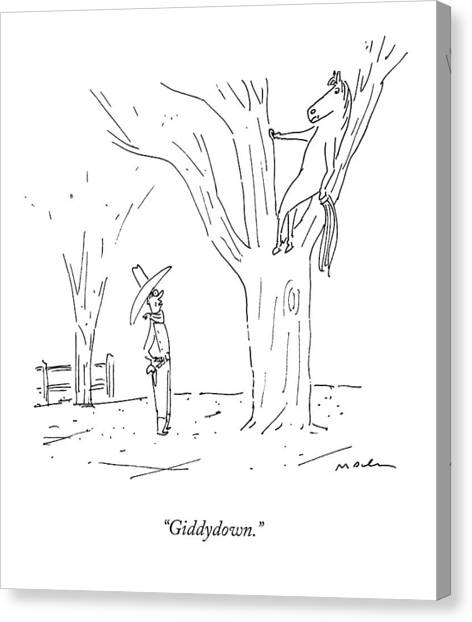 Tree Canvas Print - A Cowboy Talks To His Horse In A Tree by Michael Maslin