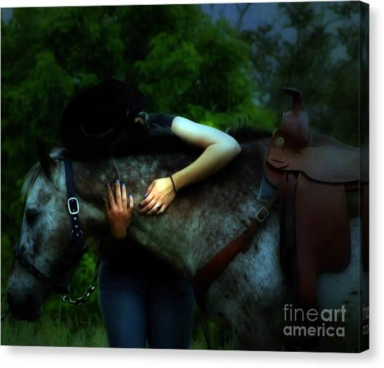A Cowgirl In Love Canvas Print by Steven Digman
