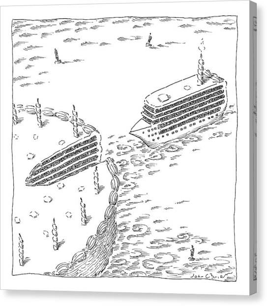 Cruise Ships Canvas Print - A Cruise Ship Shaped Like A Wedge Of Birthday by John O'Brien