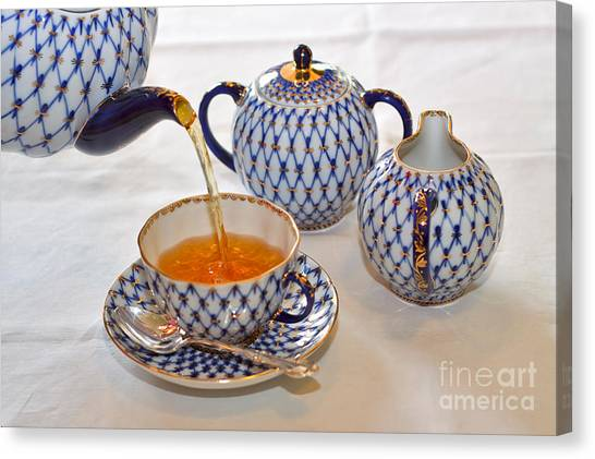 Tea Set Canvas Print - A Cup Of Tea by Louise Heusinkveld