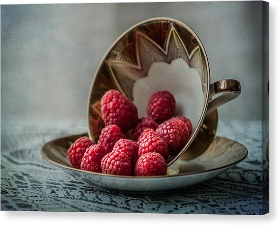 Raspberry Canvas Print - A Cupfull Of Raspberries by Maggie Terlecki