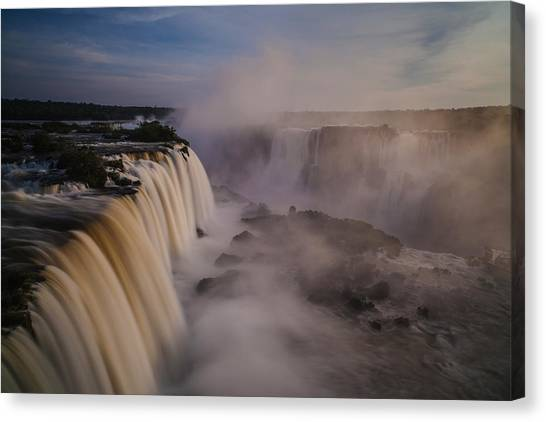 Iguazu Falls Canvas Print - A Darkening Afternoon At Iguacu by Mike Reid