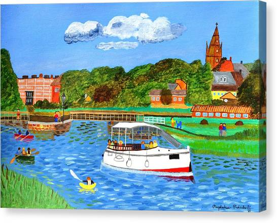 A Day On The River In Exeter Canvas Print
