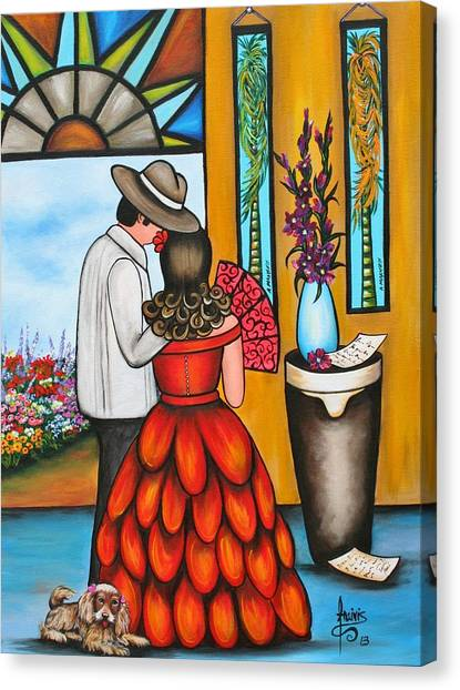 Tropical Stain Glass Canvas Print - A Declaration Of Love by Annie Maxwell