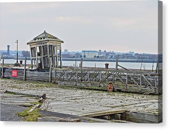 A Derelict Kiosk On A Disused Quay In Liverpool Canvas Print