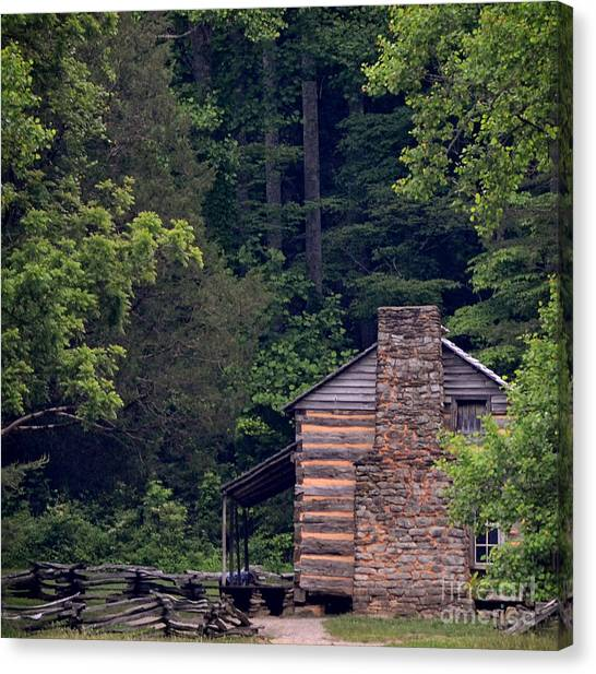 A Different View Of A Mountain Cabin Canvas Print by Eva Thomas